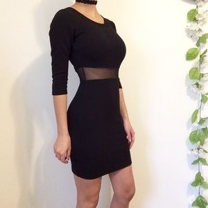 NWOT Quilted Black Dress Mesh Bodycon
